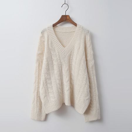 Alpaca Wool Twist V-Neck Sweater