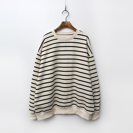 Gimo Stripe Sweatshirt - 기모안감