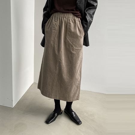 Gimo Corduroy Pocket Long Skirt - 기모안감