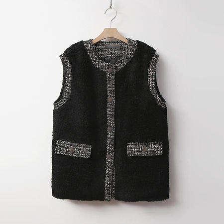 Tweed Shearling Vest - 누빔안감