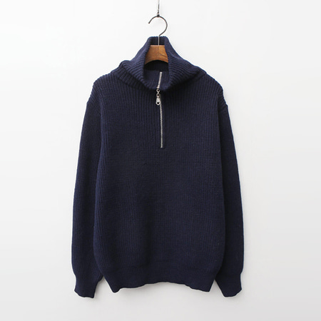 Wool Zip-Up Turtleneck Sweater
