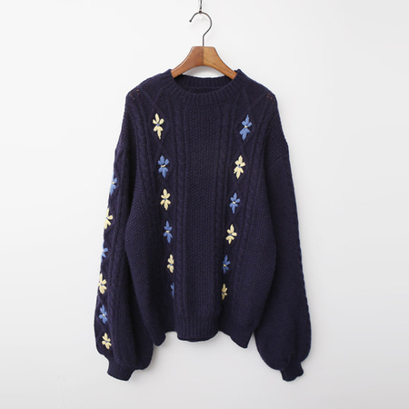 Wool Flower Puff Sweater