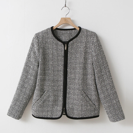 Tweed Wool Zipper Jacket