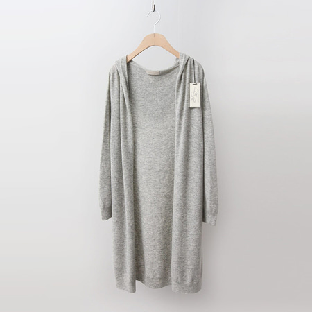 Strick Cashmere Wool Hood Long Cardigan