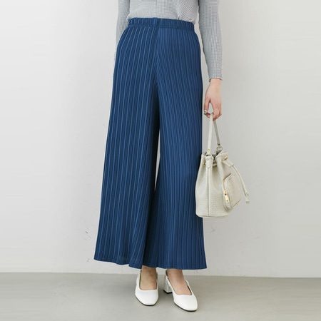 Pleats Bell Wide Pants