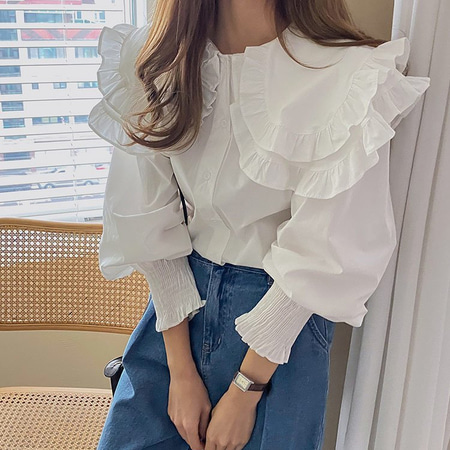 Sailor Double Frill Blouse