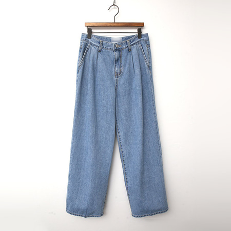 Trousers Pintuck Wide Jeans