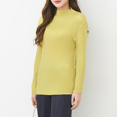 Pleats Mini Turtle Blouse - 긴팔