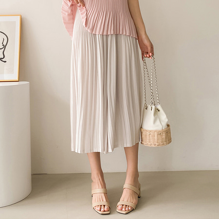 Pleats Seven Wide Pants - 치마바지