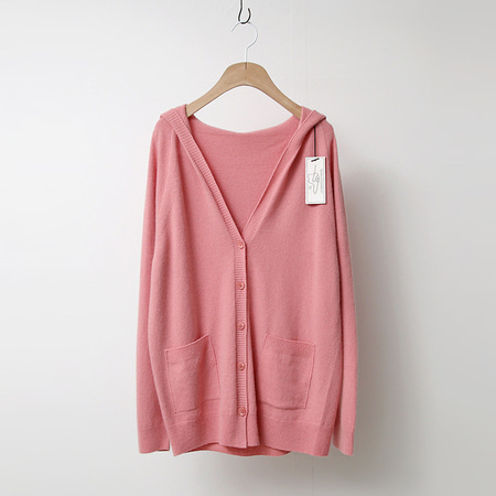 Strick Raccoon Wool Hood Button Cardigan