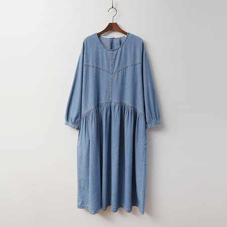 Denim Puff Shirring Long Dress