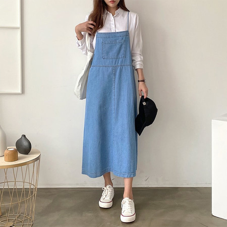 Denim Pocket Cami Long Dress