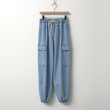 Denim Cargo Jogger Pants