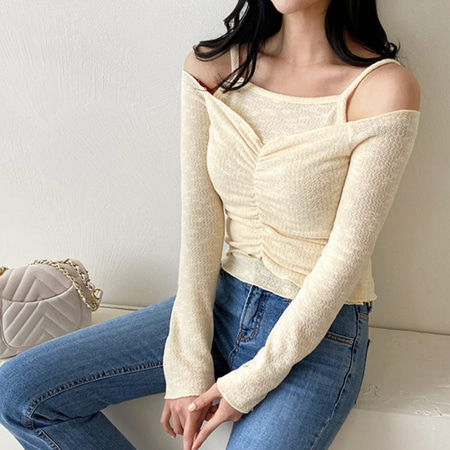 [Set] Cami + V-Neck Crop Knit