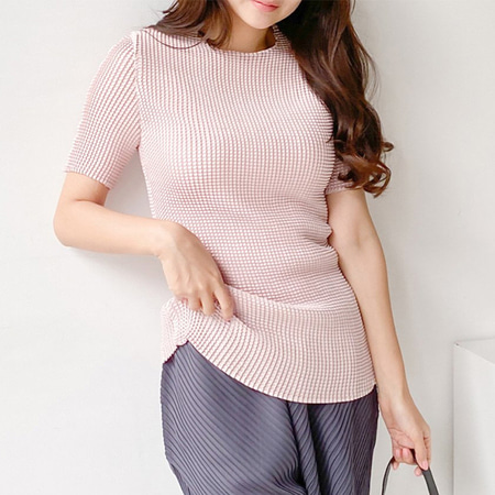 Pleats Wa Round Blouse - 반팔