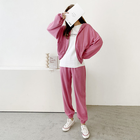 [Set] Candy Hood Crop Zip-Up Jumper + Jogger Pants