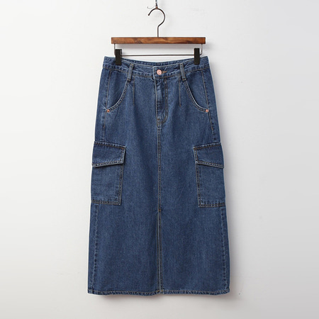 Cargo Denim Long Skirt