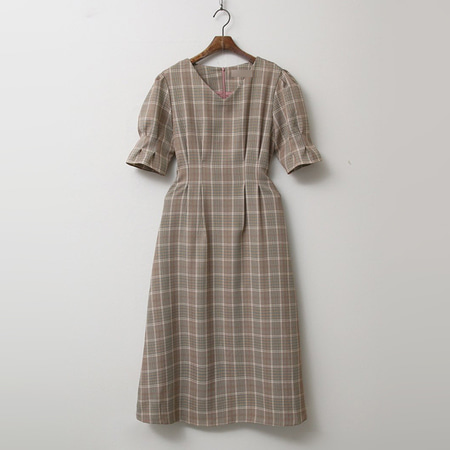 Glen Check Puff Fit N Flare Long Dress