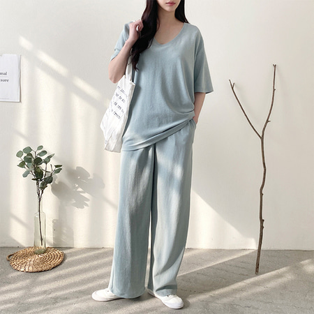 [Set] Terry U-Neck Tee + Wide Pants
