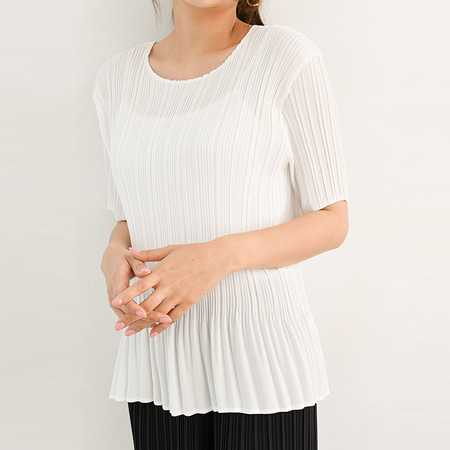 Pleats Nana Frill Blouse - 반팔
