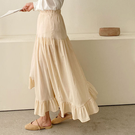 Yolo Frill Unbal Long Skirt