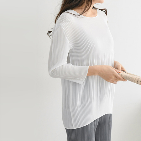 Pleats Coccon Blouse - 긴팔