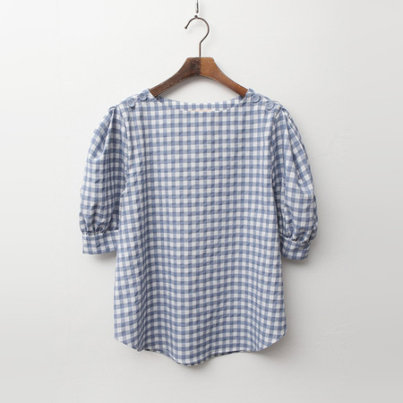 Gingham Check Puff Blouse