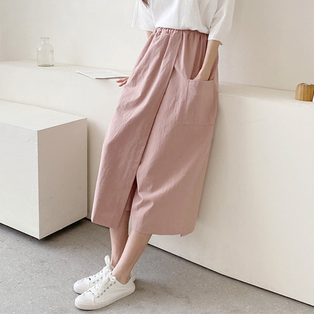 Two Wrap Wide Pants - 치마바지