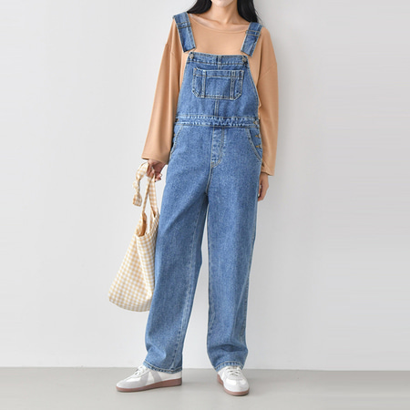 Boy Wide Denim Overalls
