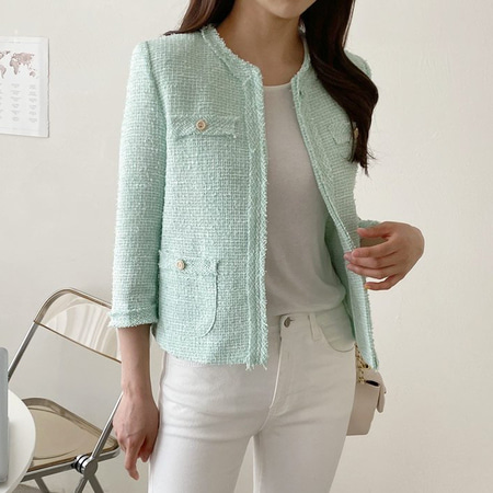 Pastel Tweed Mini Jacket