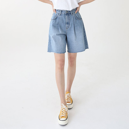 Pintuck Bermuda Denim Shorts