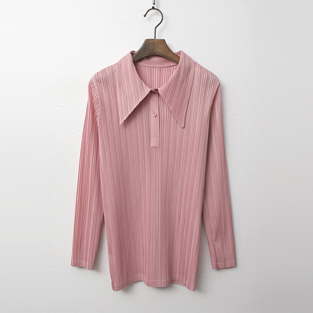 Pleats Collar Blouse - 9부소매