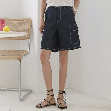 Indigo Denim Pocket Shorts