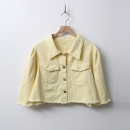 Color Puff Crop Denim Jacket - 반팔