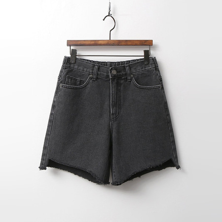 Black Cut Denim Shorts