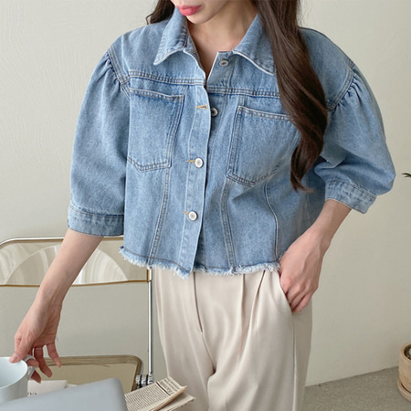 Light Denim Puff Crop Jacket - 반팔