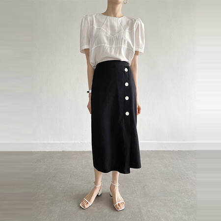 Linen H Button Long Skirt