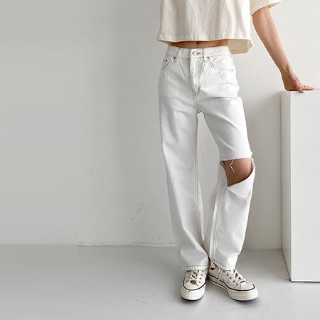 ivory Cut Wide Bootcut Jeans