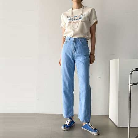 Linen Cotton Semi Wide Jeans