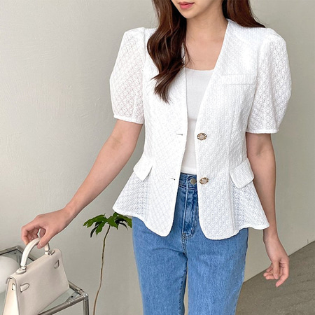 Lace Puff Fit N Flare Jacket - 반팔